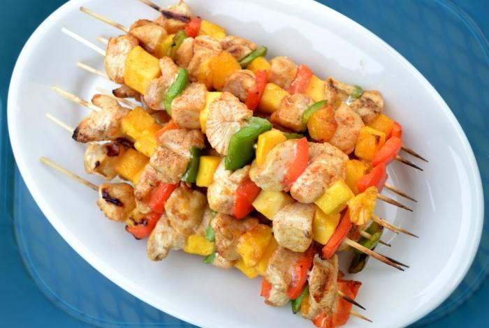Shish kebab from chicken breast - light lunch cooked on charcoal